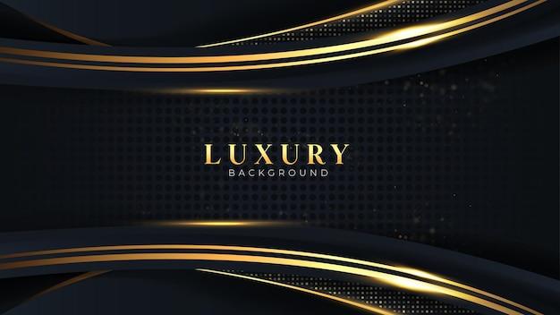 Il vettore di sfondo di lusso moderno si sovrappone strato di curva su golden scuro e nero con design premium