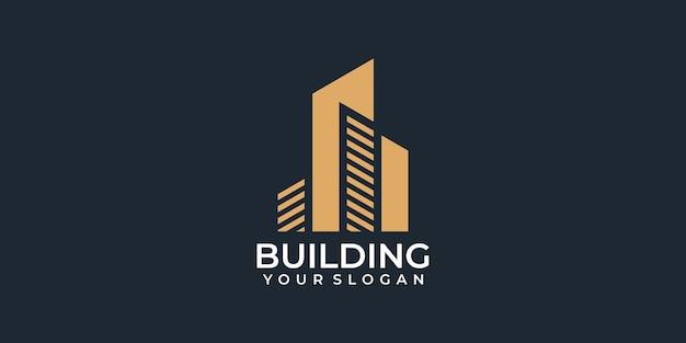 Ispirazione per il logo della costruzione di architettura residenziale pulita di lusso moderno