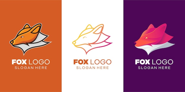 Modello di logo volpe moderno e di lusso