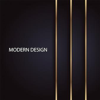 Disegno astratto geometrico di lusso moderno con linee verticali dorate su sfondo nero Vettore Premium