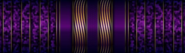 Striscione di strati sovrapposti di lusso moderno dorato e viola