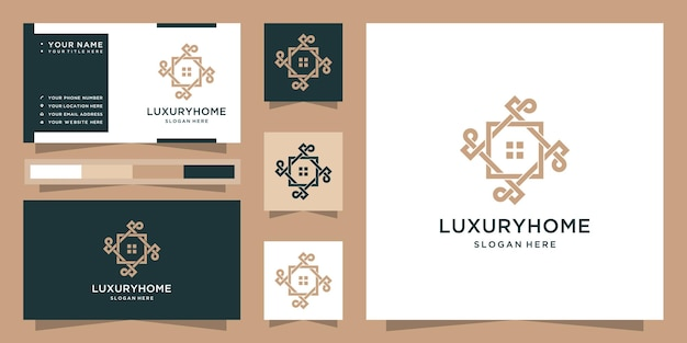 Logo di casa di lusso moderno e biglietto da visita