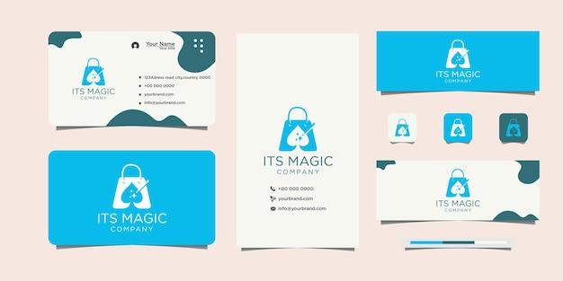 Design moderno del logo della borsa magica e biglietto da visita