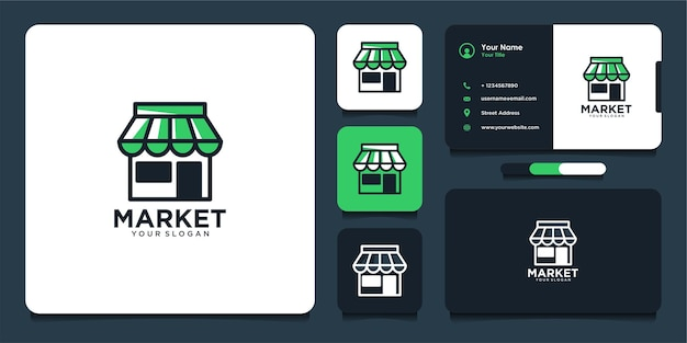 Design moderno del logo del mercato e biglietto da visita