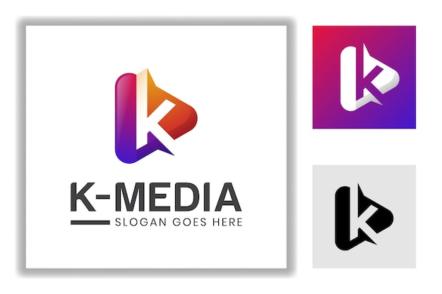 Icona di riproduzione multimediale moderna con la lettera k per multimedia, modello di logo di musica da studio