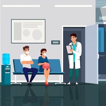Interiore della clinica medica moderna con medico e pazienti in maschere