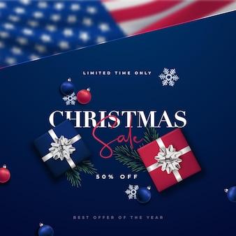 Modello di design moderno merry christmas sale con bandiera degli stati uniti blured