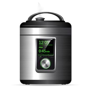 Multicooker moderno in metallo. pentola a pressione per la cottura di cibi sotto pressione. controllo elettronico. vista laterale.
