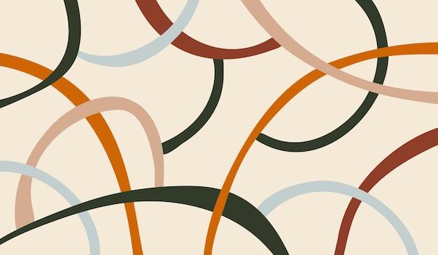 Modello astratto minimale moderno con varie linee geometriche su sfondo pastello