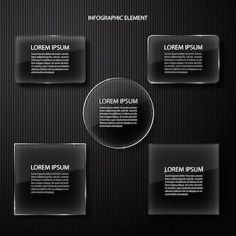 Elemento di design moderno minimal nero infografica per presentazione aziendale.