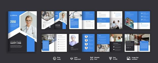 Design moderno e minimale dell'opuscolo per l'assistenza sanitaria