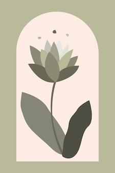 Boho moderno e minimalista arte della parete stampa di piante di metà secolo illustrazione di cartone animato piatto vettoriale moderno