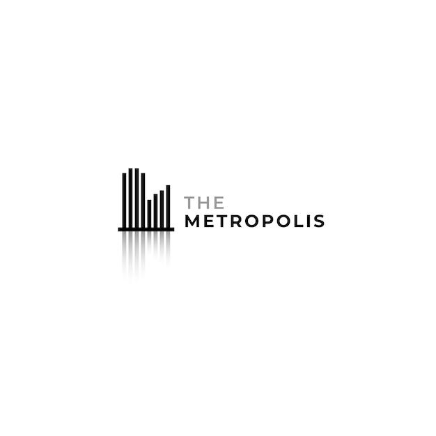 Logo moderno e minimalista del paesaggio della città con linea di striscia e concetto di design dell'ombra.