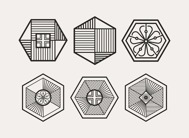 Design moderno e minimalista con motivo tradizionale coreano esagonale