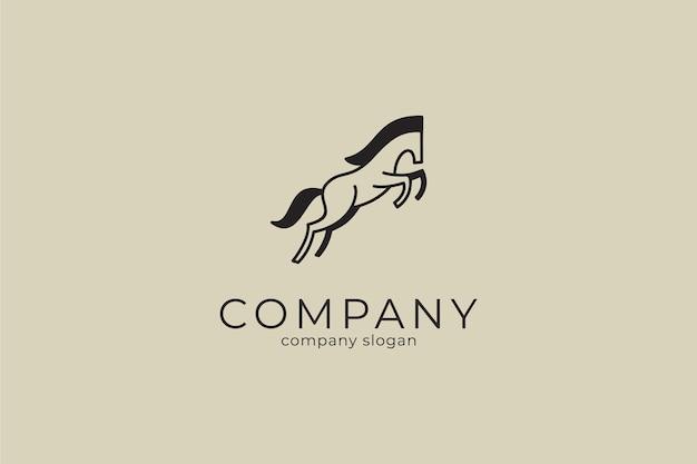 Modello minimalista moderno dell'icona di vettore del logo del cavallo