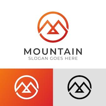 Logo moderno e minimalista dell'elegante lettera m per l'ispirazione del design del logo di montagna
