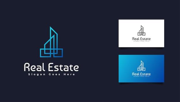 Logo immobiliare minimalista moderno in sfumatura blu. modello di progettazione del logo di costruzione, architettura o edificio