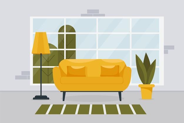 Interiore moderno del salone in stile minimalista