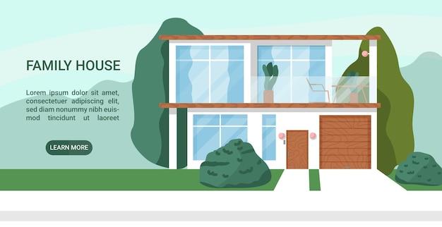 Moderna casa familiare minimalista con garage illustrazione vettoriale piatta colorata