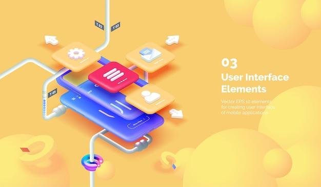 Concetto moderno dell'interfaccia utente dell'app mobile smartphone 3d su uno sfondo giallo con strumenti per la creazione di un'interfaccia mobile design dell'interfaccia mobile stile isometrico moderno dell'illustrazione vettoriale