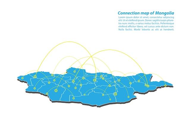 Moderno di mongolia mappa connessioni di rete design