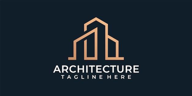 Logo di costruzione di architettura moderna monogramma residenziale