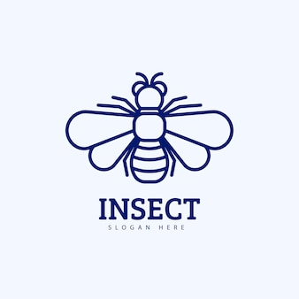 Design del logo creativo dell'insetto monoline moderno