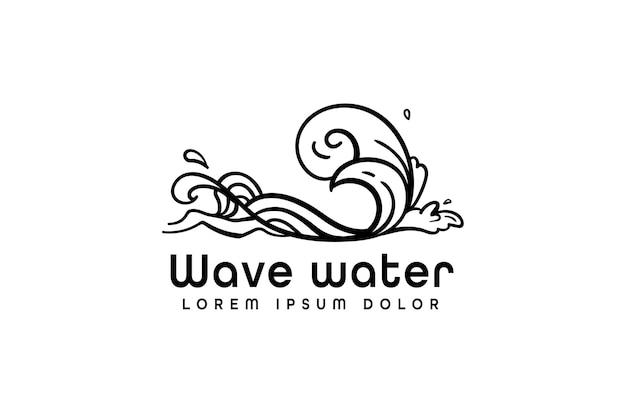 Design moderno del logo delle onde dell'oceano in stile monoline isolato