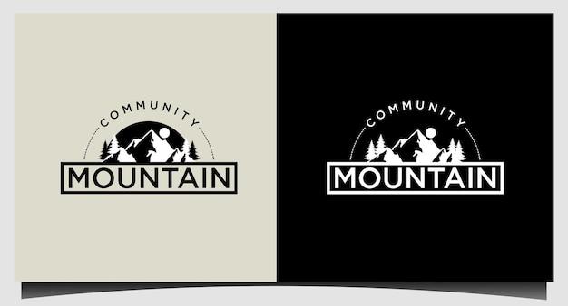 Modello di logo di montagna moderno