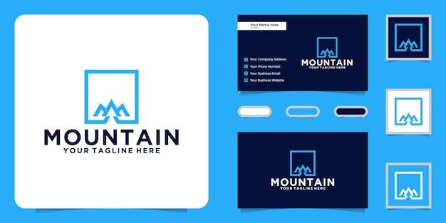Logo moderno delle montagne con cornice quadrata e ispirazione per biglietti da visita