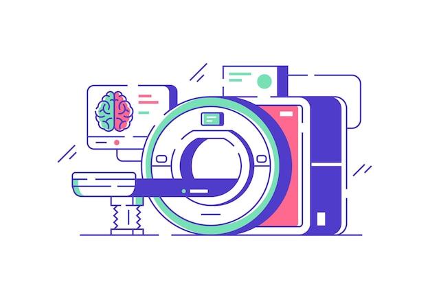 Illustrazione moderna della macchina di risonanza magnetica. stile piatto di risonanza magnetica e diagnostica. scansione del paziente in ospedale.