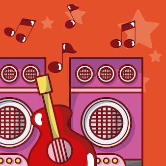 Attrezzatura musicale moderna con note musicali