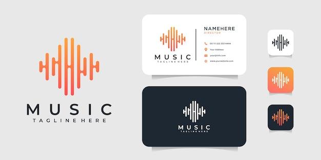 Modello di progettazione di logo e biglietto da visita di musica moderna.