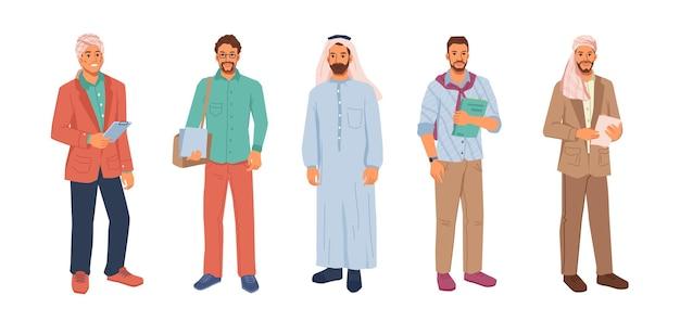 Moderno uomo d'affari musulmano in hijab o foulard isolato cartone animato piatto persone set vettore arabo