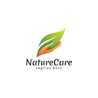 Icona moderna di foglia di natura e cura mano logo