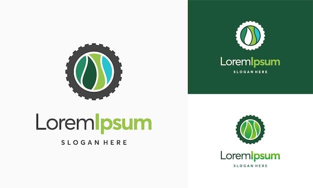 Logo della tecnologia della natura moderna, vettore della macchina foglia e ingranaggio, icona del modello del logo dell'agricoltura, vettore di progettazione del modello del logo green eco tech, industria della natura