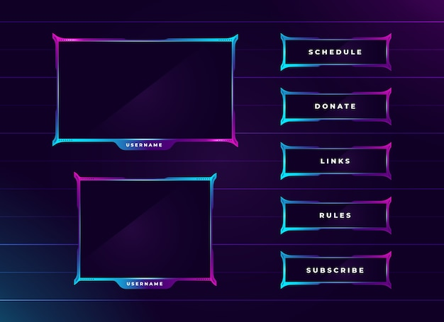 Moderno set di pannelli per lo streaming di twitch color neon