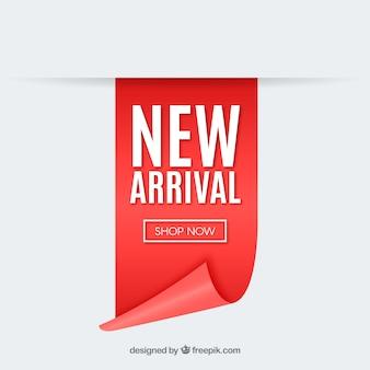 Composizione moderna nuovo arrivo con un design realistico Vettore Premium