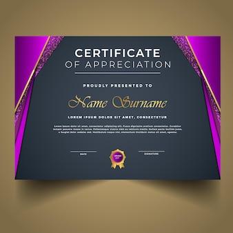 Nuovo design moderno del modello di certificato di successo