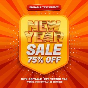 Effetto di testo modificabile 3d di vendita di capodanno moderno