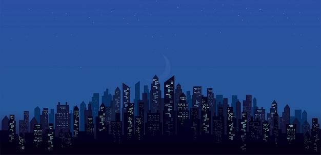 Sfondi di paesaggio dell'orizzonte della città di notte moderna