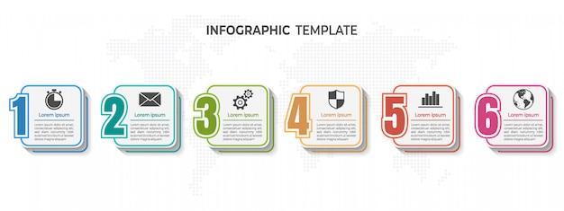 Numeri moderni elementi infograhic, cronologia infografica. Vettore Premium