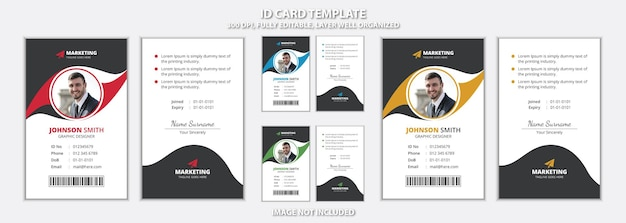 Design moderno del modello di carta d'identità per ufficio con aspetto creativo