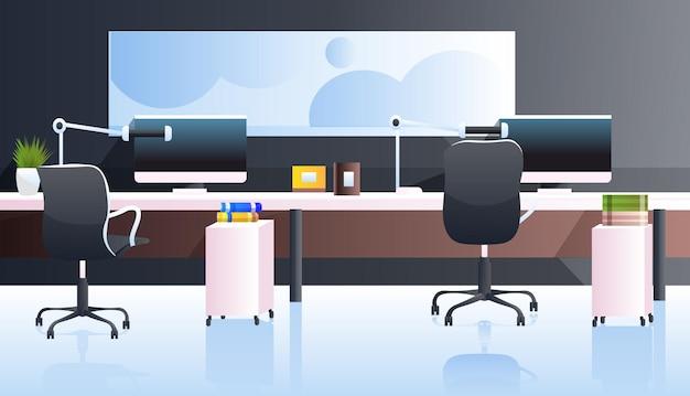 Ufficio moderno interno vuoto senza persone armadio con mobili in orizzontale