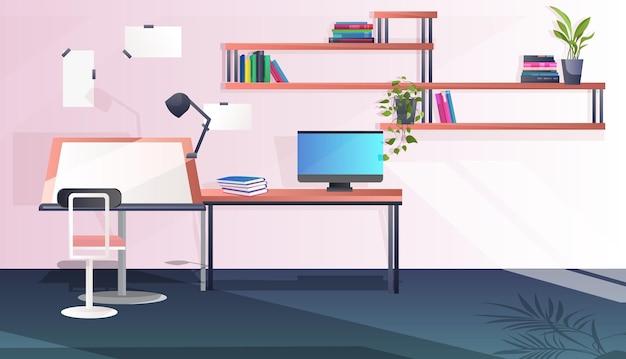 L'interno dell'ufficio moderno non svuota la stanza dell'armadio delle persone con mobili
