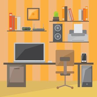 Interiore dell'ufficio moderno in design piatto. stanza interna dell'ufficio. spazio ufficio. illustrazione vettoriale