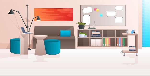 Interno dell'ufficio moderno nessuna stanza dell'armadio della gente con l'illustrazione orizzontale della mobilia
