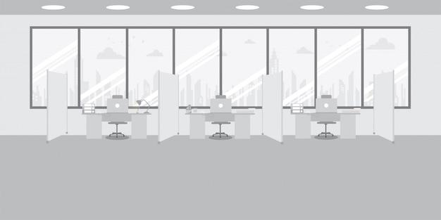 Interno di ufficio moderno con sfondo di colore grigio. area di lavoro dell'ufficio creativo