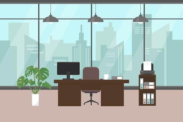 Ufficio moderno con finestra, mobili e piante sul pavimento.