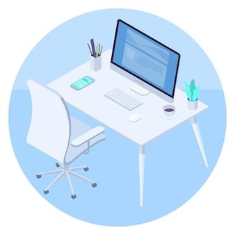 Area di lavoro moderna dell'ufficio con la tazza di caffè e il concetto isometrico dello smartphone della tazza di caffè e del mouse della tastiera del computer della scrivania isolato su fondo blu-chiaro